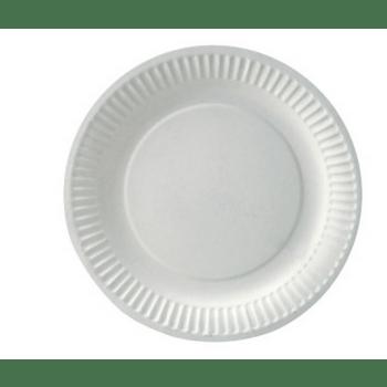 Paptallerken Hvid Ø18cm Bio.