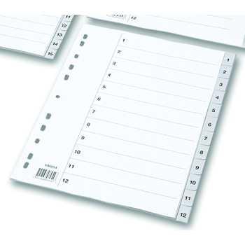 Plastregister A4 Grå 1-12