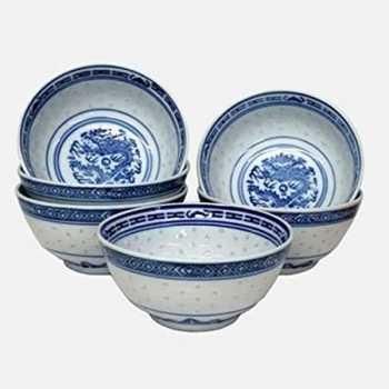 Rice Bowl 8 Cm The Blue Rice Pattern
