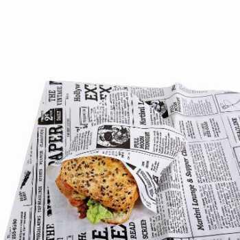 Sandwichpapir M/Pe Old News 38x50cm